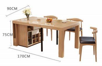 Mẫu bàn ăn thông minh có tủ và kéo dài một bên