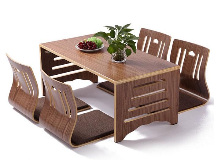 Mẫu bàn ăn ngồi bệt thông minh bằng gỗ