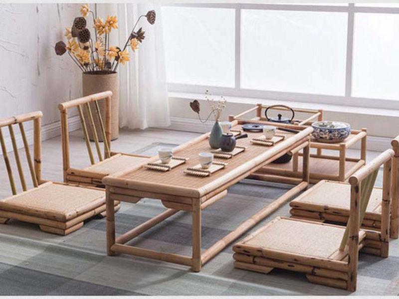 Mẫu bàn ăn ngồi bệt thông minh bằng mây tre đan