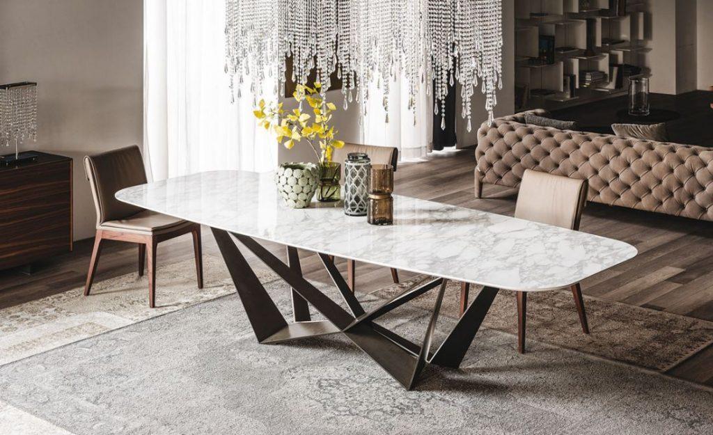 Mẫu bàn ăn thông minh mặt đá sang trọng, thiết kế độc đáo