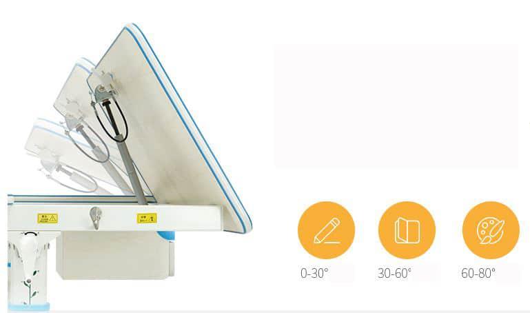 Mặt bàn được thiết kế có thể nghiêng từ 0- 80